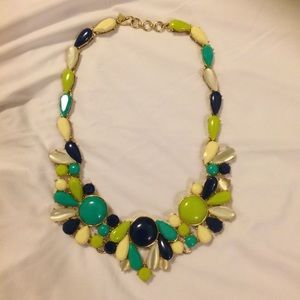 Banana Republic navy and green statement necklace